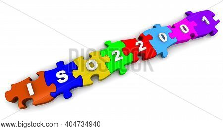 Iso 22001 Abbreviation On Puzzles. White Text Iso 22001 On Colorful Puzzles. 3d Illustration