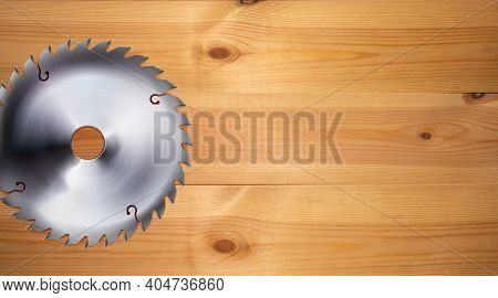 Realistic Electric Saw Disc On The Wooden Workbench Background. Woodworking And Construction, Joiner