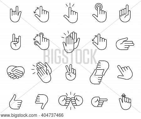 Hand Icon Set. Clapping Hands And Other Gestures, Brofisting Gesture. Thin Line Art Icons Set.black