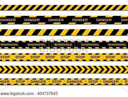 Set Of Warning Tapes Isolated On White Background. Warning Tape, Danger Tape, Caution Tape, Under Co