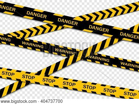 Set Of Warning Tapes Isolated On Transparent Background. Warning Tape, Danger Tape, Caution Tape, Un