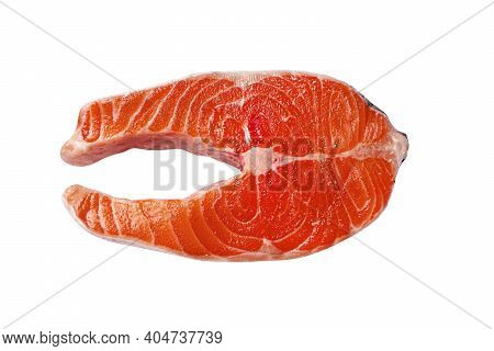 Tasty Raw Salmon Steak Isolated On White. Raw Fish Steak, Cut Out.