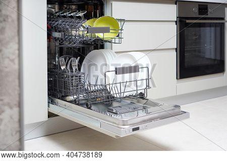 Built-in Dishwaher Machine In A Modern Kitchen