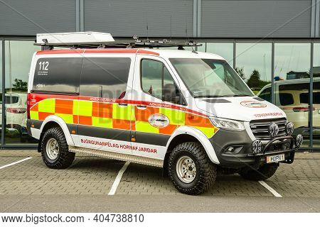 Reykjavik Iceland - July 17. 2020: Modified 4x4 Mercedes Benz Sprinter Search And Rescue Truck