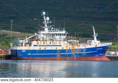 Akureyri Iceland - August 5. 2020: Longlining Fishing Vessel Anna In Port