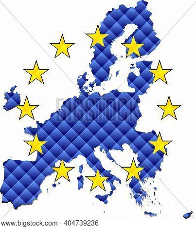 Mosaic Map Of The European Union - Illustration,  Three Dimensional Map Of European Union