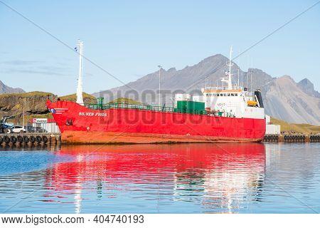 Hofn I Hornafirdi Iceland - September 15. 2020: Freighter Silver Firda In Port