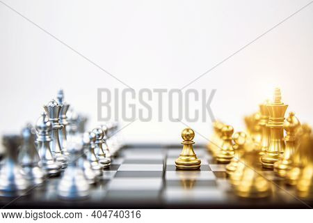 Close-up Pawn Chess Standing First To Challenge On Chess Board Concepts Of Business Team And Leaders