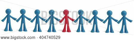 Different Human Figure In Red And Blue. Key Person, Team Leader. Recruiting New Employees To Vacant