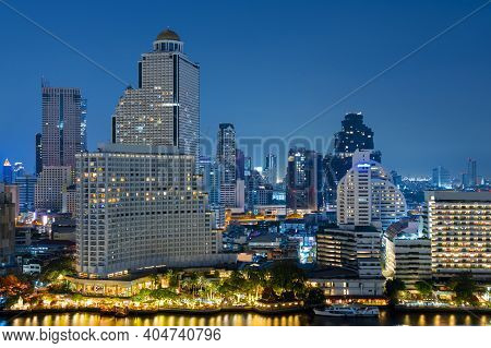 Bangkok City Skyline In Downtown At Dusk And Night View.