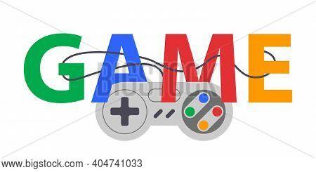 Game Design Joystick Vector Illustration. Gaming Control Joypad. Trendy Typography Print Poster.