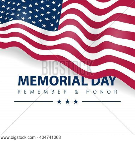 Memorial Day Of Hero, Veteran United States Of America Remember. Usa Flag Glory On Vector Poster Car