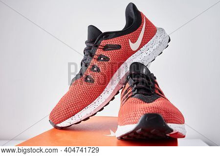 Nike Running Shoes, Close Up. Red Sneakers For Run. Dobrush, Belarus - 18.01.2021