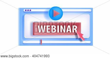 Online Webinar, Free Remote Video Training, Courses Icon, Vector Logo With Play Button, Isolated On