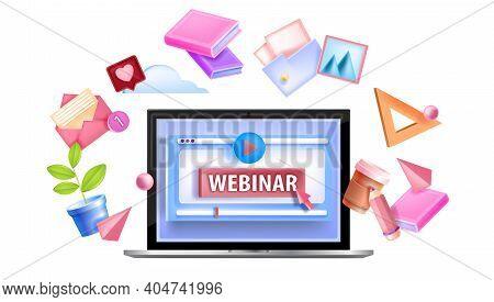 Online Webinar Education Vector Icon, Icon, Logo With Laptop Screen, Play Button, Arrow, Book, Docum