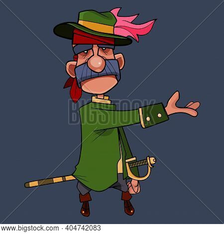 Cartoon Character Man In Camisole With Saber And Hat With Feather Points Hand