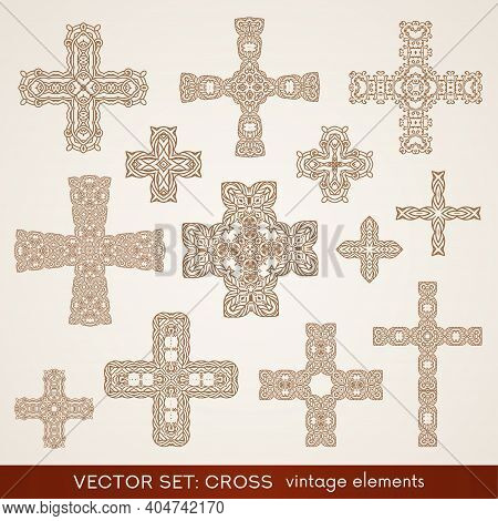 Cross Shape Collection. Religious Symbol Of Christian Faith Isolated On Background. Vintage Vector E