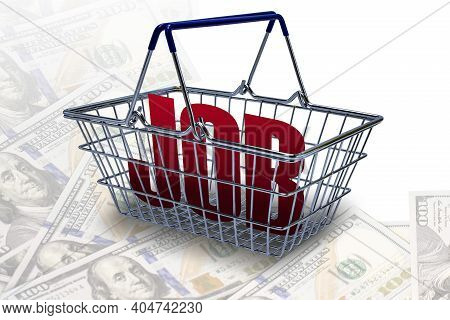 Conceptual Background Of Unemployment. A Supermarket Basket With The Inscription Job On A Background