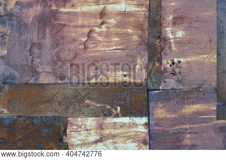 Old Aged Weathered Rusty Corroded Coat Iron Sheets Texture Pattern, Multiple Horizontal Rusted Corro