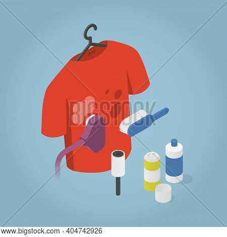 Vector Isometric Dry Cleaning Illustration. T-shirt With Stains On Hanger With Professional Cleaning