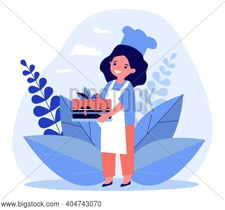 Chef Kid Holding Home Baked Cake. Pie, Dessert, Sweet Food. Flat Vector Illustration. Cooking At Hom