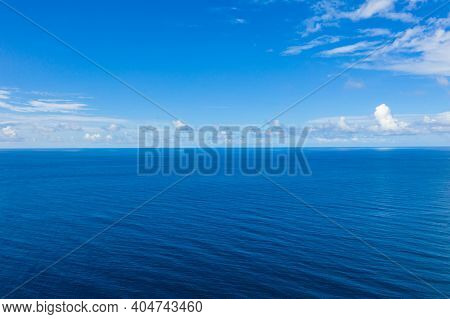 Aerial View Of Cloud And Wave. Ocean Seascape. Ocean Waves With Blue Sky And Clouds, Endless Horizon