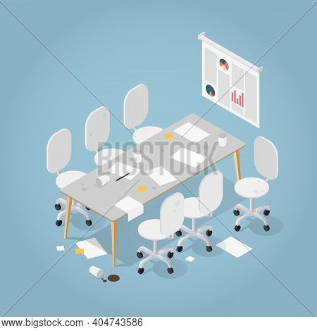 Vector Isometric Dirty Office Illustration. Very Messy Meeting Room With Desk, Chairs, Papers And St