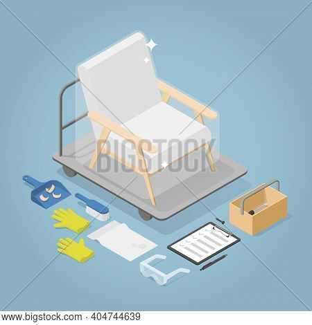 Vector Isometric Furniture Repair Illustration. Restored Armchair With Tools Laying Around - Toolbox