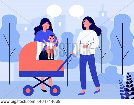 Female Friends Walking With Baby In Stroller And Chatting. New Mom In Park With Pram. Flat Vector Il