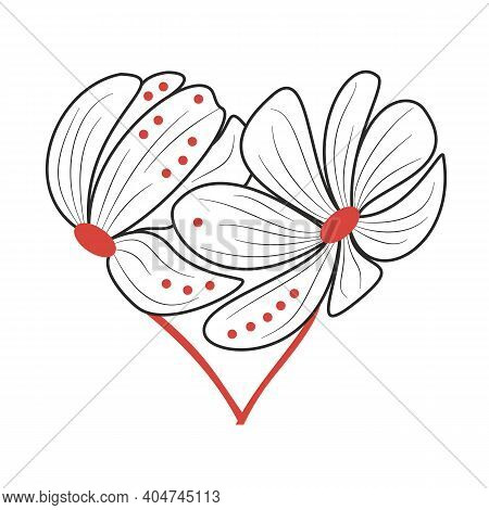 Two Stylized Flowers Arranged In A Heart Shape. Hand-drawn Vector, Black And Red Colors. A Symbol Of