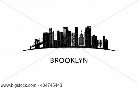 Brooklyn Ny City Skyline. Black Cityscape Isolated On White Background. Vector Banner.