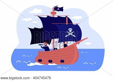 Old Pirate Boat With Skull On Black Flag And Canvas, Captain And Sailors On Deck Sailing In High Sea