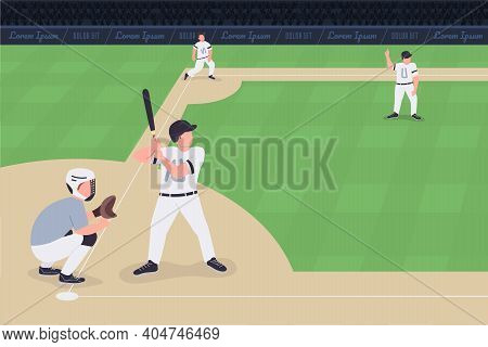 Baseball Match Flat Color Vector Illustration. Competition Between Two Teams. Proffessional Baseball