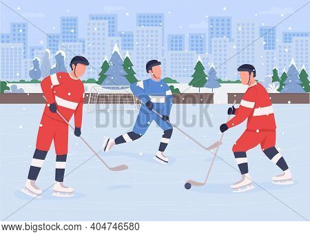 People Playing Hockey On Ice Rink Flat Color Vector Illustration. Proffesional Teams Compete Between