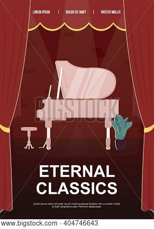 Eternal Classics Poster Flat Vector Template. Traditional Elegant Music. Brochure, Booklet One Page
