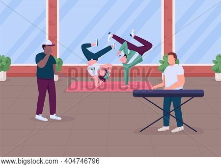 Modern Hip Hop Music Show Flat Color Vector Illustration. Special Dancing Perfomance At Home. Hip Ho