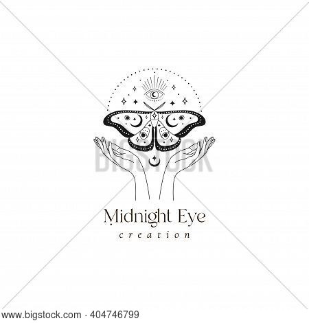 Abstract Mystic Butterfly Moth And Eye Logo Design