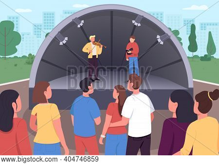 Live Music Concert Flat Color Vector Illustration. Showing Your Musical Skills In Park To All People