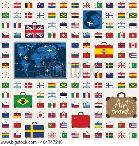 Vector Seamless Pattern On The Theme Of Air Travel With Travel Suitcases In The Colors Of The Flags