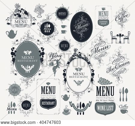Set Of Vector Labels For Restaurant Or Cafe Menu Design In Retro Style. Vintage Ornate Frames In Gre