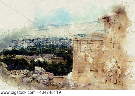 Watercolor Illustrations View Of The City And The Sea From The Acropolis. Greece, Athens, Acropolis