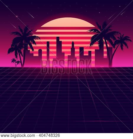 Neon 80 Background With Summer Landscape. Vector Futuristic Synth Retro Wave Illustration In 1980s P