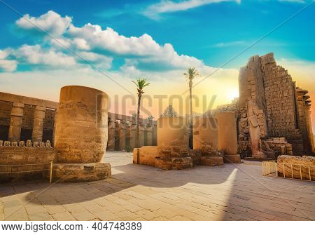 Luxor Karnak Temple. The Pylon With Blue Sky