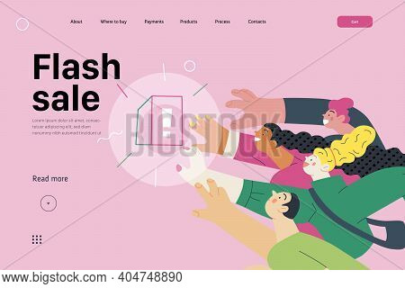 Discounts, Sale, Promotion- Web Template -modern Flat Vector Concept Illustration Of People Crowd Ra