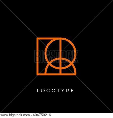Geometric Shape Letter R, Line Monogram, Decorative Logo Concept, Linear Monogram For Architecture O