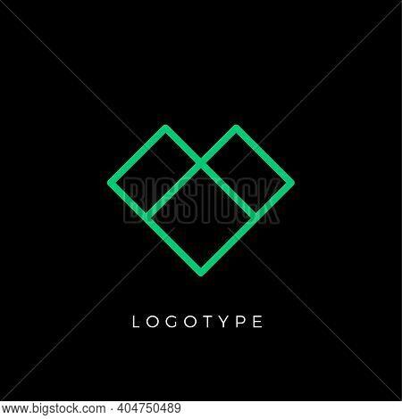 Geometric Shape Letter V, Line Monogram, Decorative Logo Concept, Linear Monogram For Architecture O