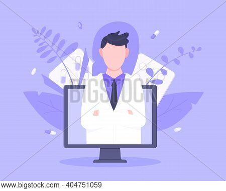 Online Doctor Medical Service Concept With Doctor In The Monitor Screen Vector Illustration. Telemed