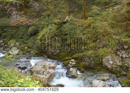 A Bridge Over The Zadlascica River Near Its Confluence With Tolminka River In Tolmin Gorge, Triglav