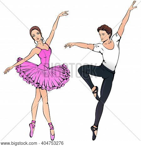 Vector Illustration Of Young Couple Ballet Dancers Isolated On White Background. Ballerina On Pointe