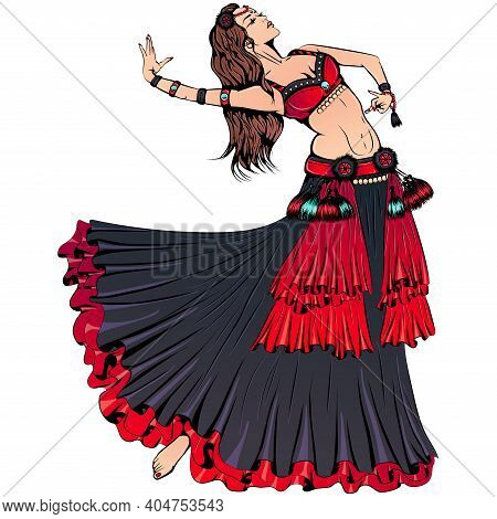 Vector Illustration Of Young Dancer Dancing Tribal Belly Dance Isolated On White Background. Ethnic